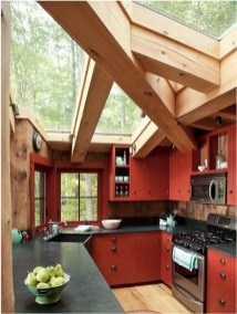 Red Kitchen Cottage With Black Table