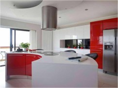 Semi Circular Cabinet For Modern Kitchen With Red Theme
