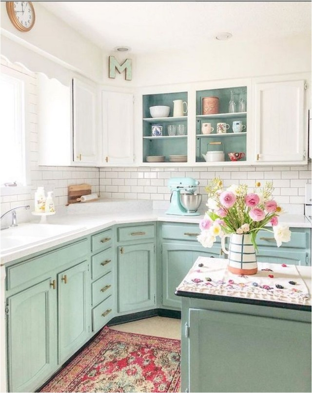 Green Pastel And White Shabby Chic Kitchen Ideas