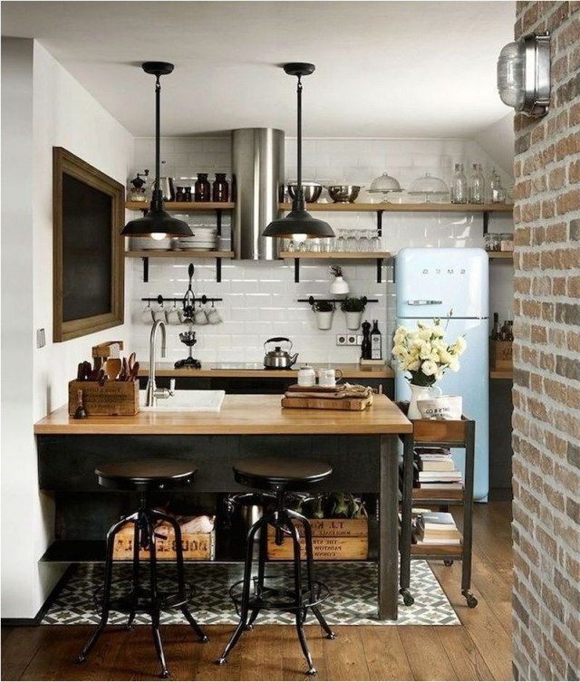 Small Kitchen With Industrial Decorations Ideas