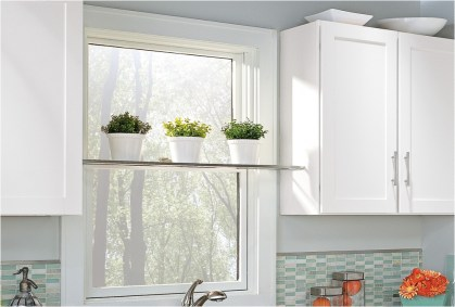 Large Window With Plant For Small Kitchen