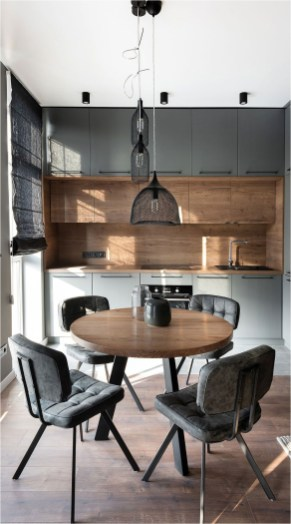 Maximize Space With Small Kitchen And Round Dining Table
