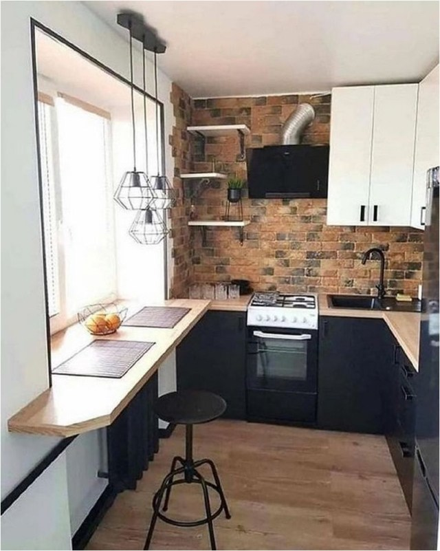 Small Industrial Kitchen With Black White And Exposed Brick