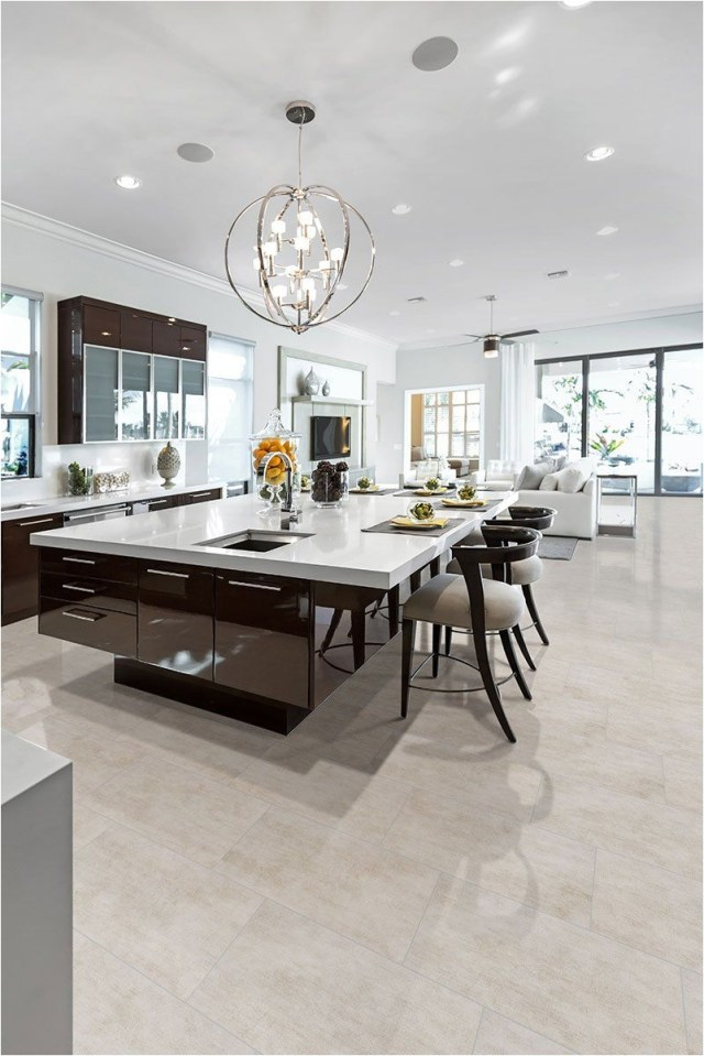 Contemporary Kitchen Design With Ball Pendant Light