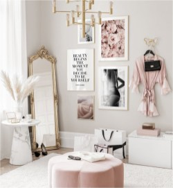 Pink Bedroom With Art Decorations And Standing Mirror
