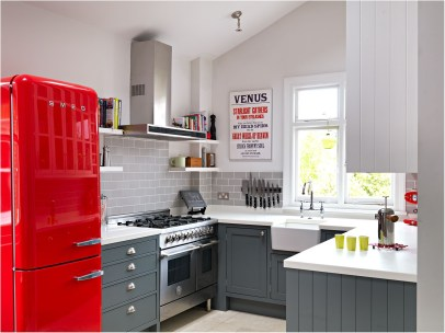 Red Refrigerator In Small Kitchen Ideas
