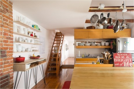 Wood Kitchen With Floating Desk