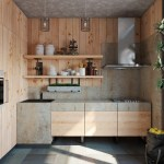 Wooden Texture for Change the 2x3 Meters Sized Small Kitchen