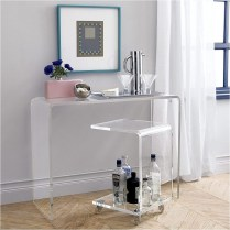 Transparent Acrylic Dresser With Unique Chair Ideas