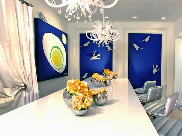 3D Effects for Dining Room with All-Blue Theme