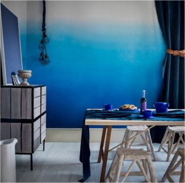 Blue Gradations Colors With Rustic Chair Dining Room