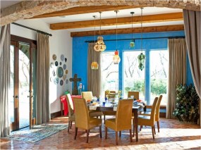 Blue Rustic Dining Rooms With Wood Accent