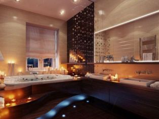 LED Lights and Candles for Stunning Lighting in Modern Minimalist Bathroom