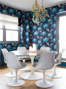 Modern Dining Room With Vintage Wallpaper Combinations Ideas