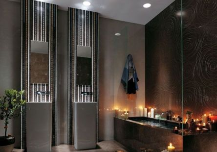 Romantic for Stunning Lighting in Modern Minimalist Bathroom