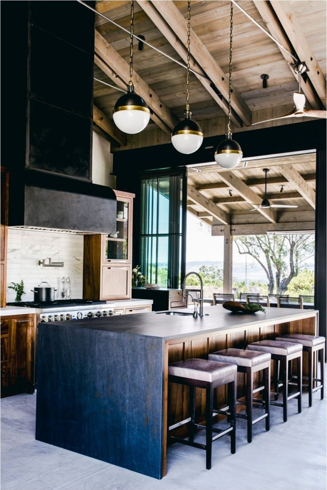 All Wood Ceiling With Industrial Design Farmhouse Ideas