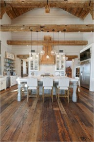 White And Warm Wood Decorations With Pendant Lighting Farmhouse