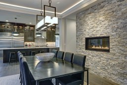 Stone Wall Cladding Idea Unfinished Look In Open Kitchen