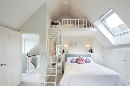 Attic Bedroom White Themes With Stairs In Another Room