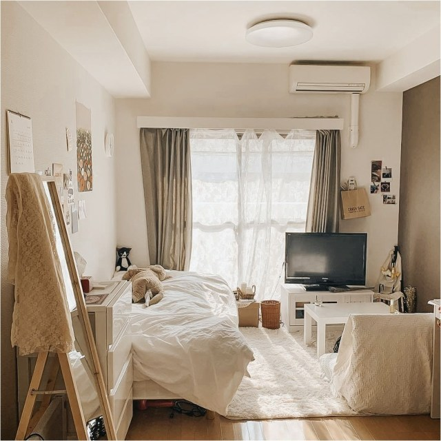 White And Soft Brown Color Combination For Korean Bedroom