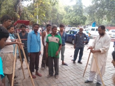 Setting up a prototype near Kali Bari Mandir
