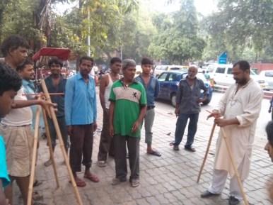 Setting up a prototype near Kali Bari Mandir