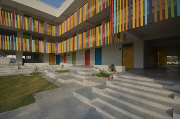 Location: Bhiwadi, Haryana, India. Design team: Neha Kulkarni, Nirmal Kulkarni, ShubhangiGoswami, PrabhashDhama, SurbhiRastogi, Saugoto Bose Gross floor Area: 2717.05sq.m. Usage: Institutional Floor: 3 floors Structure: Reinforced Concrete with cavity brick wall Exterior Finishing: TexturePainted Status: Foundation Complete as of Oct 2015 Client: Modern Public School, Bhiwadi, HARYANA. Structural Engineers: Girish Wadhwa, GTWCSE Public Health Engineers: Deepak Khosla