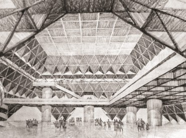 Conceptual sketch of the Hall of Nations, Courtesy – Raj Rewal