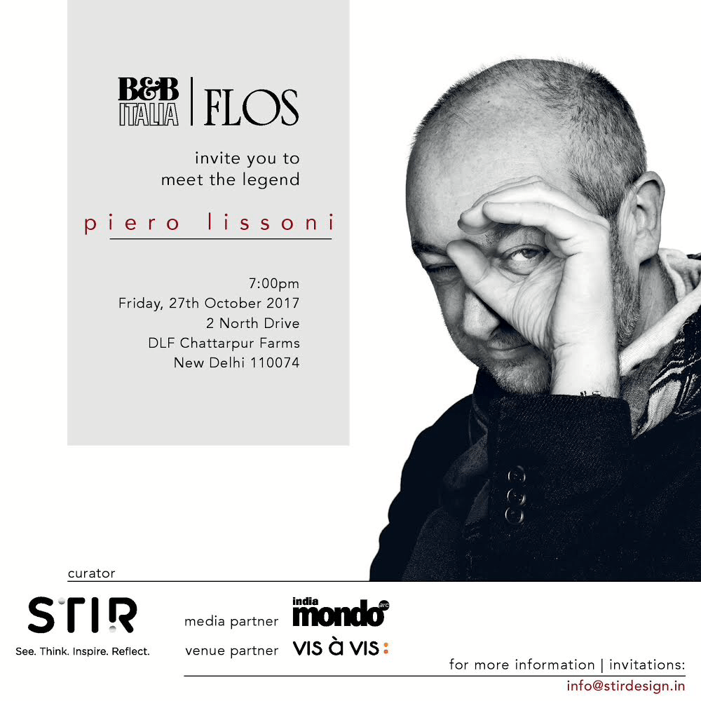 Your chance to meet the legend: PIERO LISSONI, presented by B&B Italia and FLOS. 1