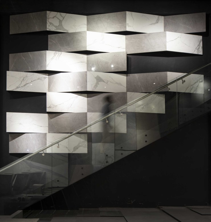 MOFA Studio creates a theatrical monochromatic space for a tile showroom in Gurgaon 12