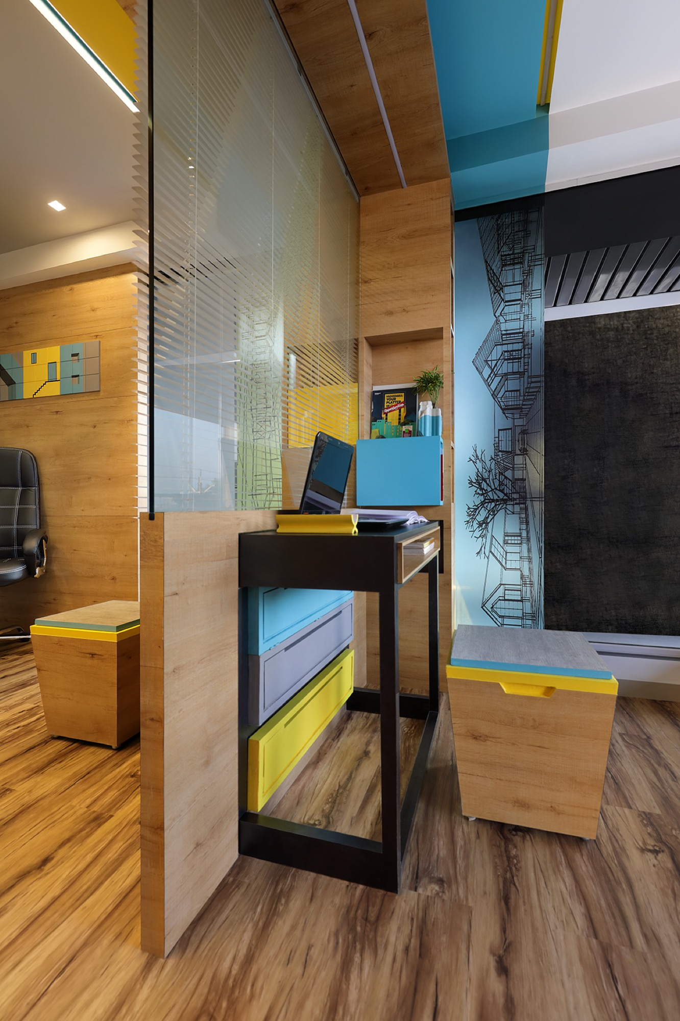 Adaptable furniture that defines the office space, designed by Manoj patel Design Studio 1