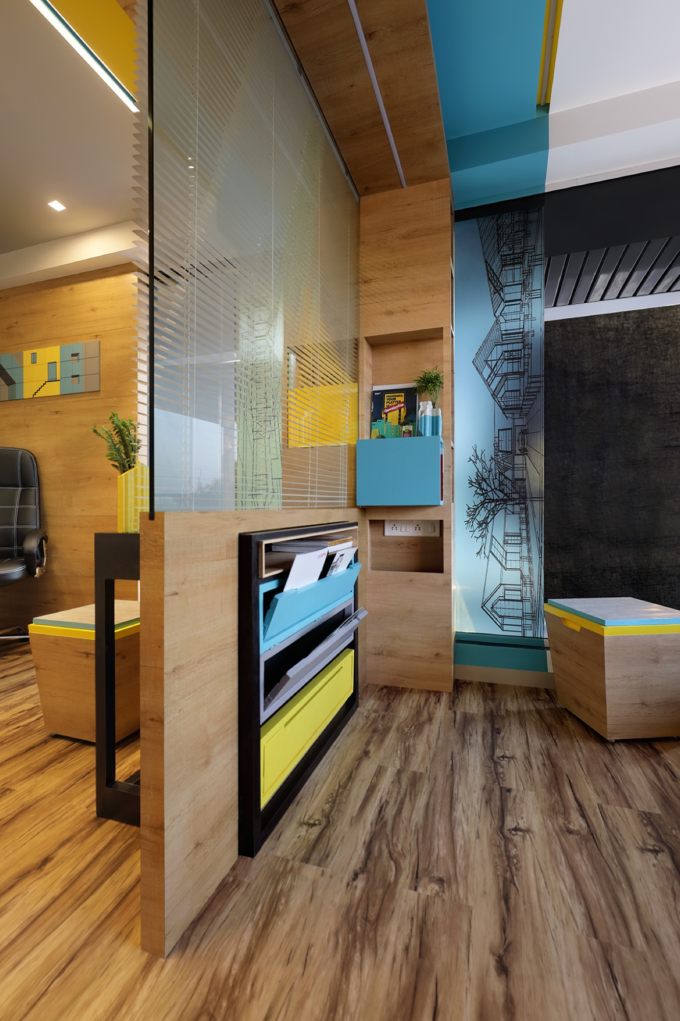 Adaptable furniture that defines the office space, designed by Manoj patel Design Studio 3