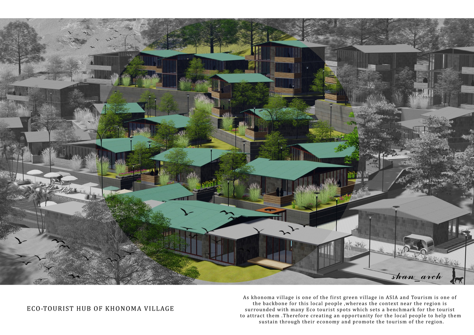 B.Arch Thesis: Eco-Tourist Hub of KHONOMA Village, By Shanjo A. Kithan, ITM University-Gwalior 10