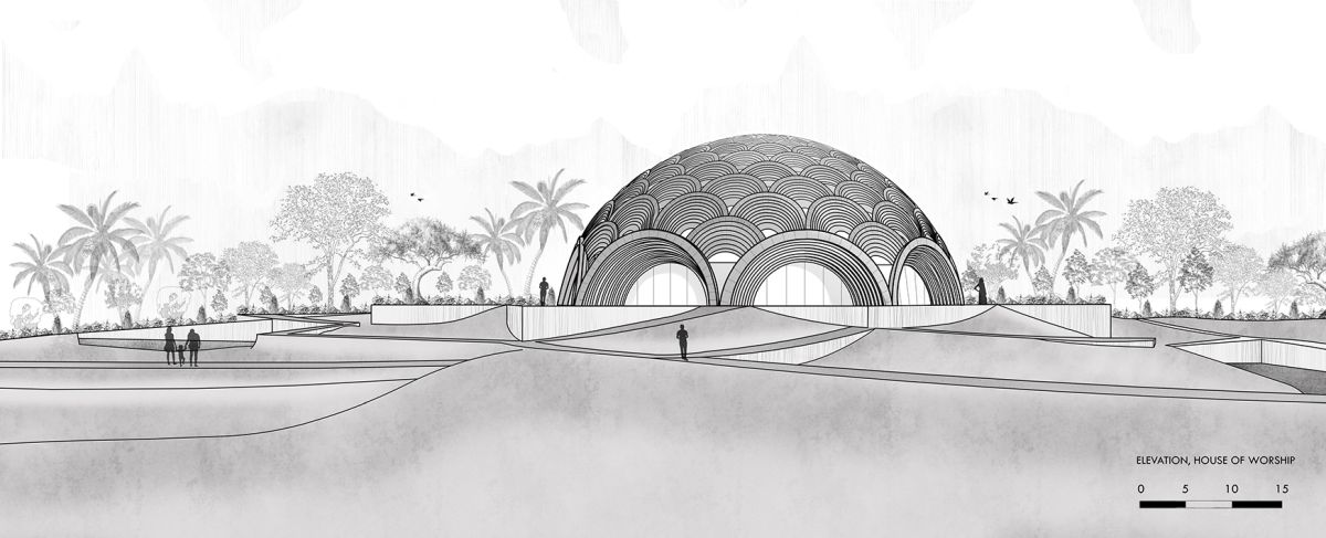 Baha'I Temple at Bihar, an award winning proposal by Spacematters 10