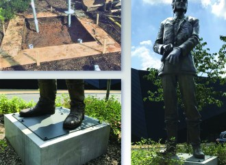 Helifix Dixie micro-piles used to support Air Chief Marshal statue
