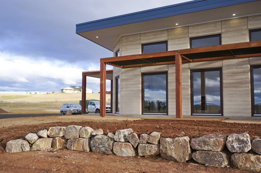 Rammed Earth building with eco windows. Vet hospital by Architecture Republic, Bowral
