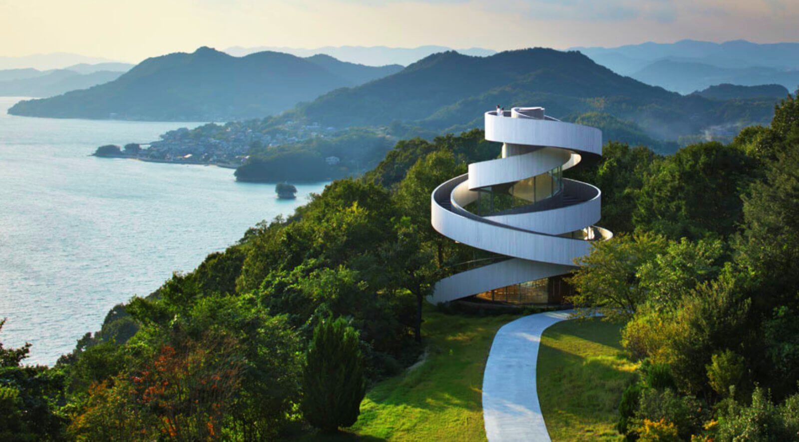 Amazing Ribbon Chapel  Spiraling Stairway By Hiroshi