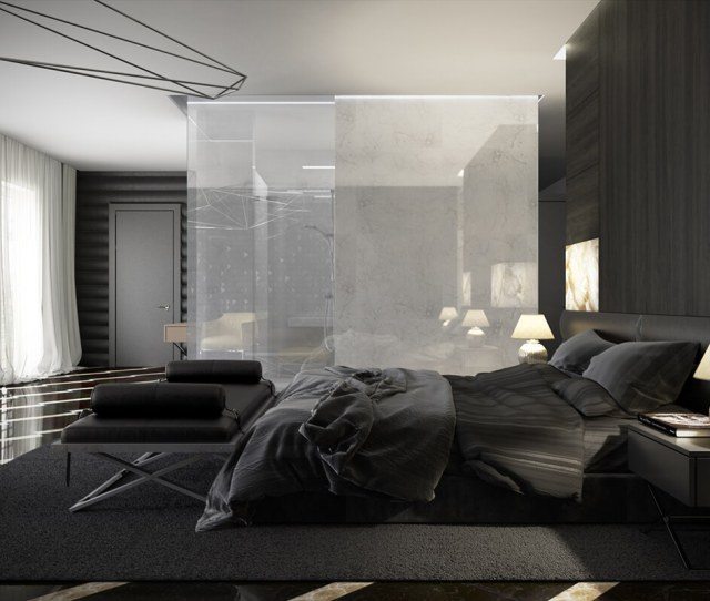 This Design Is A Fine Combination Of Light And Dark Despite The Dark Color Used In The Entire Room White Curtains And Open Balcony Gives A Soothing