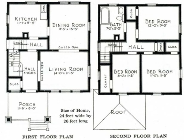 American Foursquare style house Floor Plan