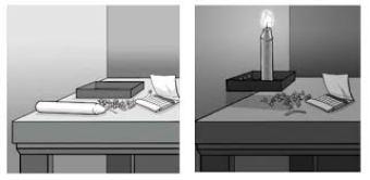świeczka, stół, pinezki, pudełko, zapałki