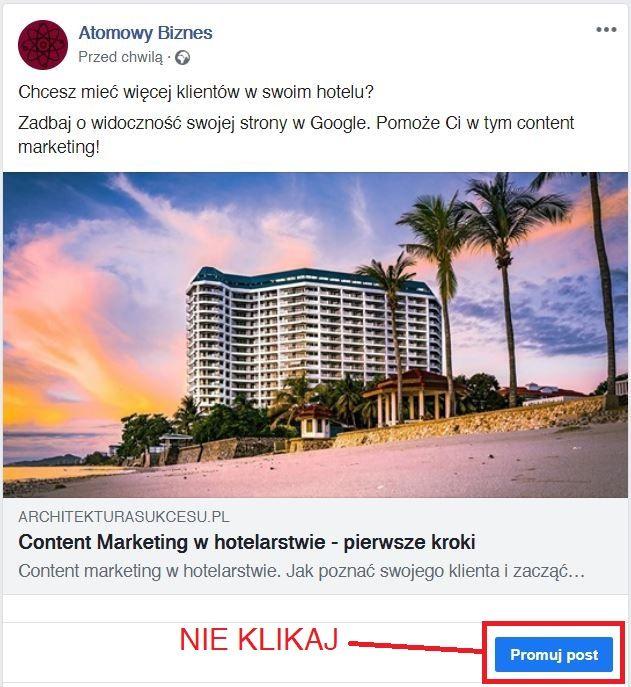 przycisk promuj post na Facebooku