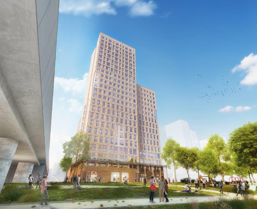Hochhaus aus Holz Vortrag von Rdiger Lainer in Mnchen  architekturmeldungende