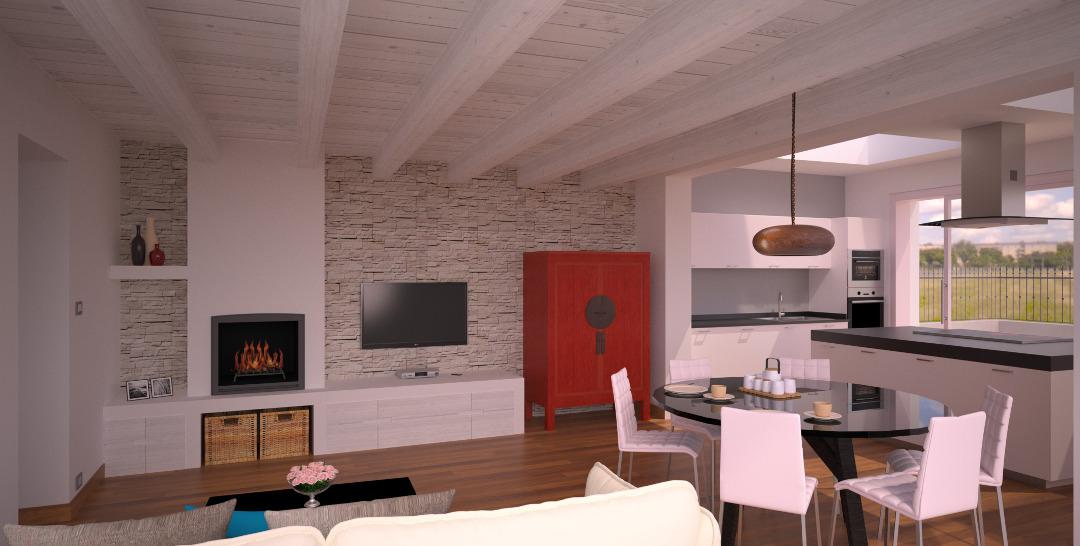 open space per soggiorno cucina e zona pranzo. Progetto 40 Mq Architettura A Domicilio