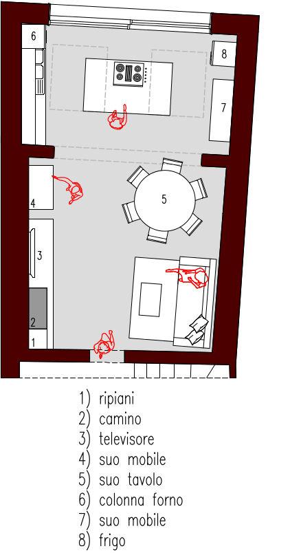 Come dividere o delimitare la cucina all'interno di un soggiorno open space? Progetto 40 Mq Architettura A Domicilio