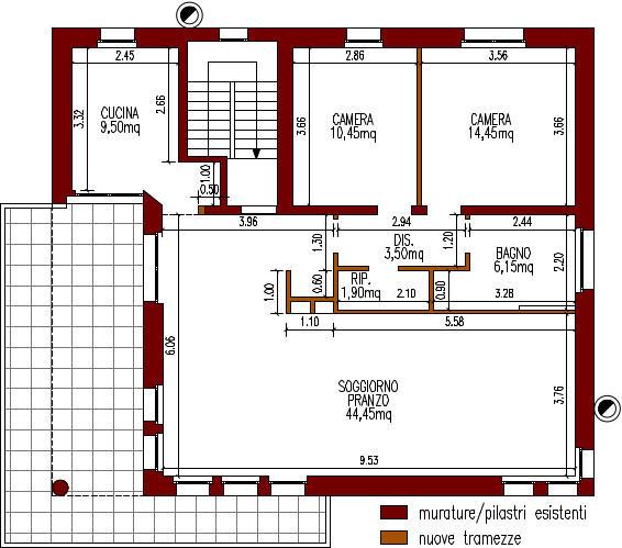 progetto-online-280-mq-cucina-penisola-planimetria-quotata-casa-indipendente-piano-primo