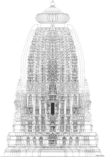 'Reconstruction drawing of Temple 5, Ashapuri, for World Momuments Fund and Department of Archaeology, Archives and Museums, Govt. of Madhya Pradesh: