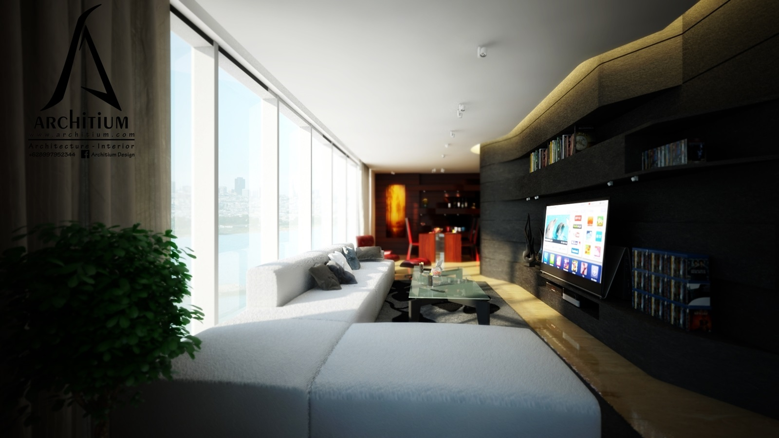 Interior-Apartment-Jakarta-Regatta-Living to Dining