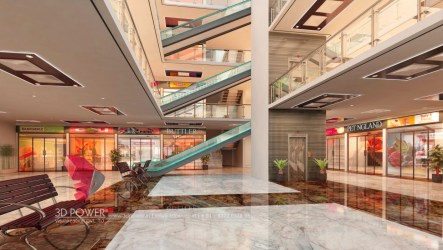 mall shopping interior rendering 3d architectural elevation visualization power lobby designs apartment strip malls exterior virtual tour dubai shops architizer