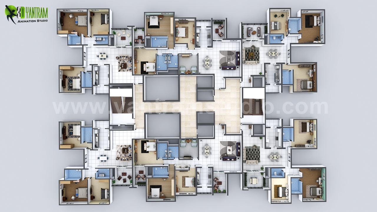 Creative 3d Floor Plan Of Entire Apartment Floor Design On Architizer