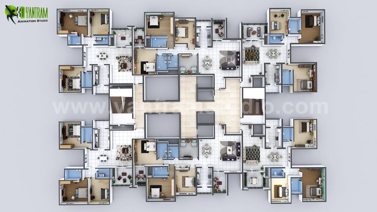 Creative 3d Floor Plan Of Entire Apartment Floor Design On Architizer